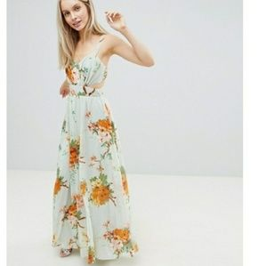 ASOS Floral Side Cut Out Maxi Dress